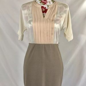 Ann Taylor Loft Sheer Top Dress 0P career boss
